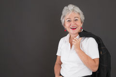 Portrait of happy attractive senior lady Stock Photos