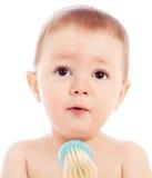 Portrait of happy baby boy closeup Stock Images