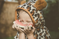 Baby boy playing in the garden. The boy eating watermelon. Little nice child. stock photo