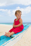 Portrait of happy baby child on board of sea boat Stock Photography