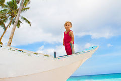 Portrait of happy baby child on board of sea boat Royalty Free Stock Images