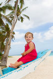 Portrait of happy baby child on board of sea boat Stock Image