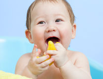 Portrait of happy baby taking a bath Royalty Free Stock Photos
