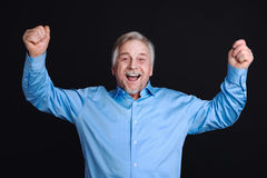 Portrait of happy bearded elderly man Stock Image
