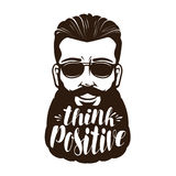 Portrait of happy bearded man or hipster. Think positive, lettering vector illustration Royalty Free Stock Photography