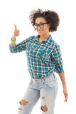 Portrait of happy beautiful african american teenage girl thumbs Stock Photo