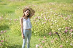 Asian girl relax in summer park. Portrait of Happy beautiful Asian woman with hat relax at grass field with pink flowers in morning. Outdoor lifestyle. Freedom Royalty Free Stock Photography