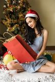 Asian girl celebrate Christmas time stock photo