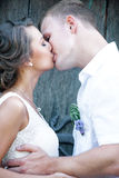 Portrait of happy beautiful couple. Happy married couple kisses outdoor Royalty Free Stock Images