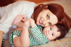 Portrait of happy beautiful mother and baby royalty free stock image