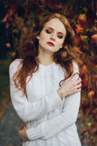 Portrait of happy beautiful redhaired girl smiling.  Royalty Free Stock Images