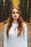 Portrait of happy beautiful redhaired girl smiling.  Stock Images
