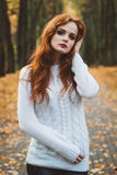 Portrait of happy beautiful redhaired girl smiling.  Stock Photography