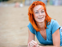 Portrait of a happy beautiful redhead girl Royalty Free Stock Photography