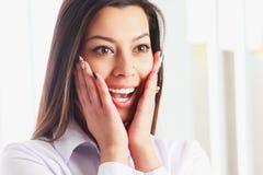Portrait of happy beautiful surprised  businesswoman Stock Images