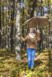 Portrait of a happy beautiful teenage girl  holding an umbrella Stock Photography