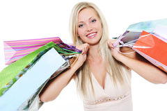 Portrait of happy  beautiful woman with  bags Stock Photo