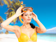 Portrait of happy beautiful woman at beach Stock Photos