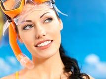 Portrait of happy beautiful woman at beach Stock Image