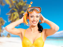 Portrait of happy beautiful woman at beach Stock Photos