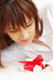 Portrait of happy beautiful woman with gift box Stock Images