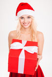 Portrait of happy beautiful woman with present over white background Royalty Free Stock Photo