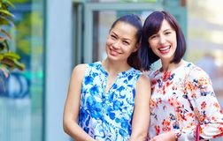 Portrait of happy beautiful women outdoors royalty free stock photography
