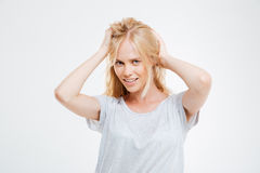Portrait of happy beautiful young woman with blonde hair Stock Photo
