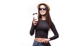 Portrait of happy beauty girl in sunglasses drink tea or coffee from paper cup Stock Photos