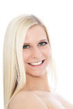 Portrait of Happy Blond Woman with Bare Shoulders. Close Up Portrait of Smiling Blond Woman with Bare Shoulders in Studio with White Background Royalty Free Stock Images