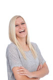 Portrait of happy Blond Woman. Portrait of Smiling Blond Woman in White Studio Royalty Free Stock Images