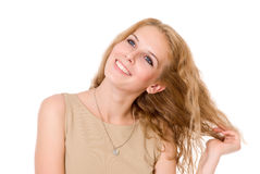 Portrait of happy blonde with long hair Royalty Free Stock Image
