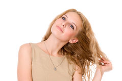 Portrait of happy blonde with long hair. Royalty Free Stock Image