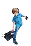 Portrait of happy boy with headphones Stock Photo