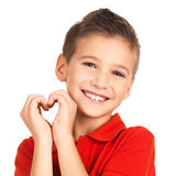 Portrait of happy boy with a heart shape Stock Photography