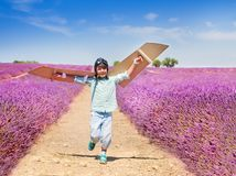 Happy boy waving cardboard wings trying to fly Stock Photos
