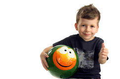 Portrait of happy boy with smile ball Stock Photography