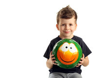 Portrait of happy boy with smile ball Royalty Free Stock Photography