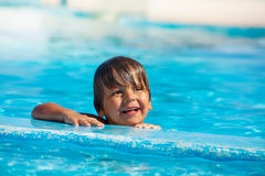 Portrait of happy boy in swimming pool Stock Image