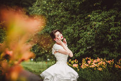 Portrait of the happy bride Royalty Free Stock Photography
