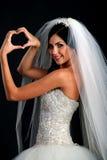 Portrait of happy bride in beautiful dress stock photos
