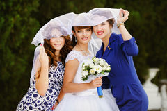 Portrait of happy bride with the bridesmaids Stock Photo