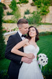 Portrait Happy bride and groom on their wedding Stock Photo
