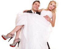 Portrait of happy bride and groom on white backgro Royalty Free Stock Photo