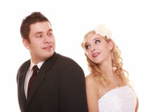 Portrait of happy bride and groom on white background Royalty Free Stock Photography