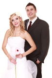 Portrait of happy bride and groom on white background Royalty Free Stock Images