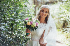 Portrait of a happy bride posing with veil royalty free stock images