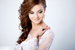 Portrait of happy bride in wedding dress, white Royalty Free Stock Image