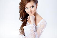 Portrait of happy bride in wedding dress, white. Beautiful smiling woman in a wedding dress Royalty Free Stock Photos