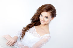 Portrait of happy bride in wedding dress, white Royalty Free Stock Photo